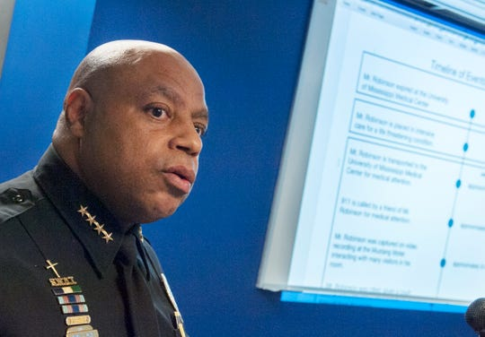 Jackson Police Chief James Davis addresses media during a news conference Monday, Jan. 28, 2019, regarding the investigation into the death of Washington Addition resident George Robinson. At right is a timeline of Robinson's last days, from arrest on Jan. 13 to his death at University of Mississippi Medical center on Jan. 15.  Robinson's death has been ruled a homicide.