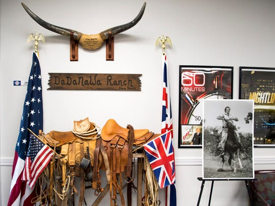 Saddles made by Stan Brock while he lived in Guyana are displayed outside his office at Remote Area Medical's headquarters in Rockford, Tenn., on Jan. 28, 2019. RAM is planning an exhibit in memory of its founder at its Knoxville clinic this weekend.