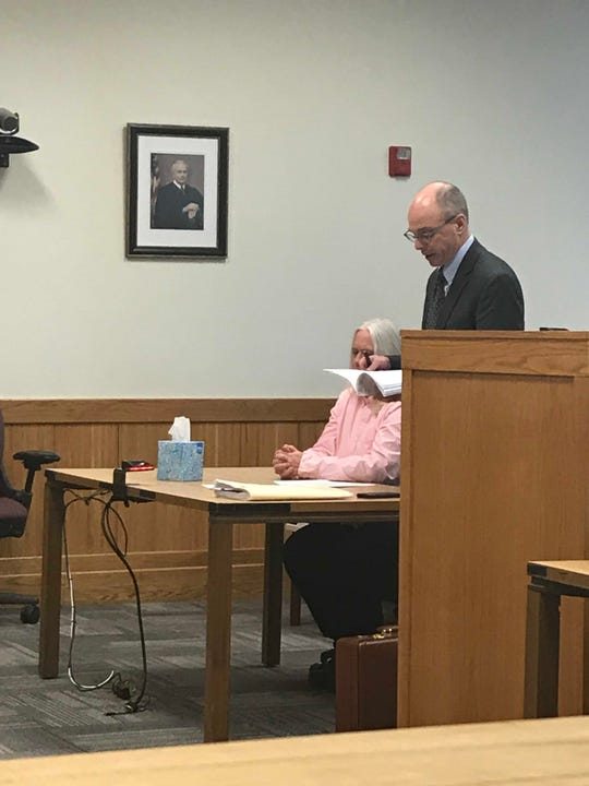 Attorney Steve Dodge speaks in Livingston County Circuit Court Judge Michael Hatty's courtroom on behalf of his client Sarah Fluegel. Fluegel was sentenced to two years probation Monday Jan. 28, 2019, with the first year to be served in jail.