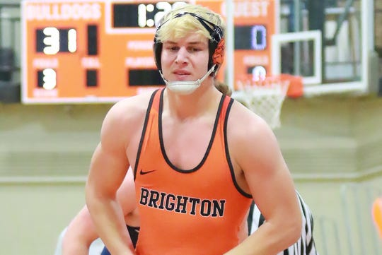 Brighton's Luke Stanton has moved up to No. 1 in Division 1 at 215 pounds.