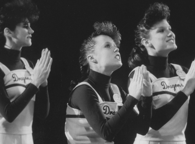 Lady Dragon cheerleaders. Mar. 25, 1987