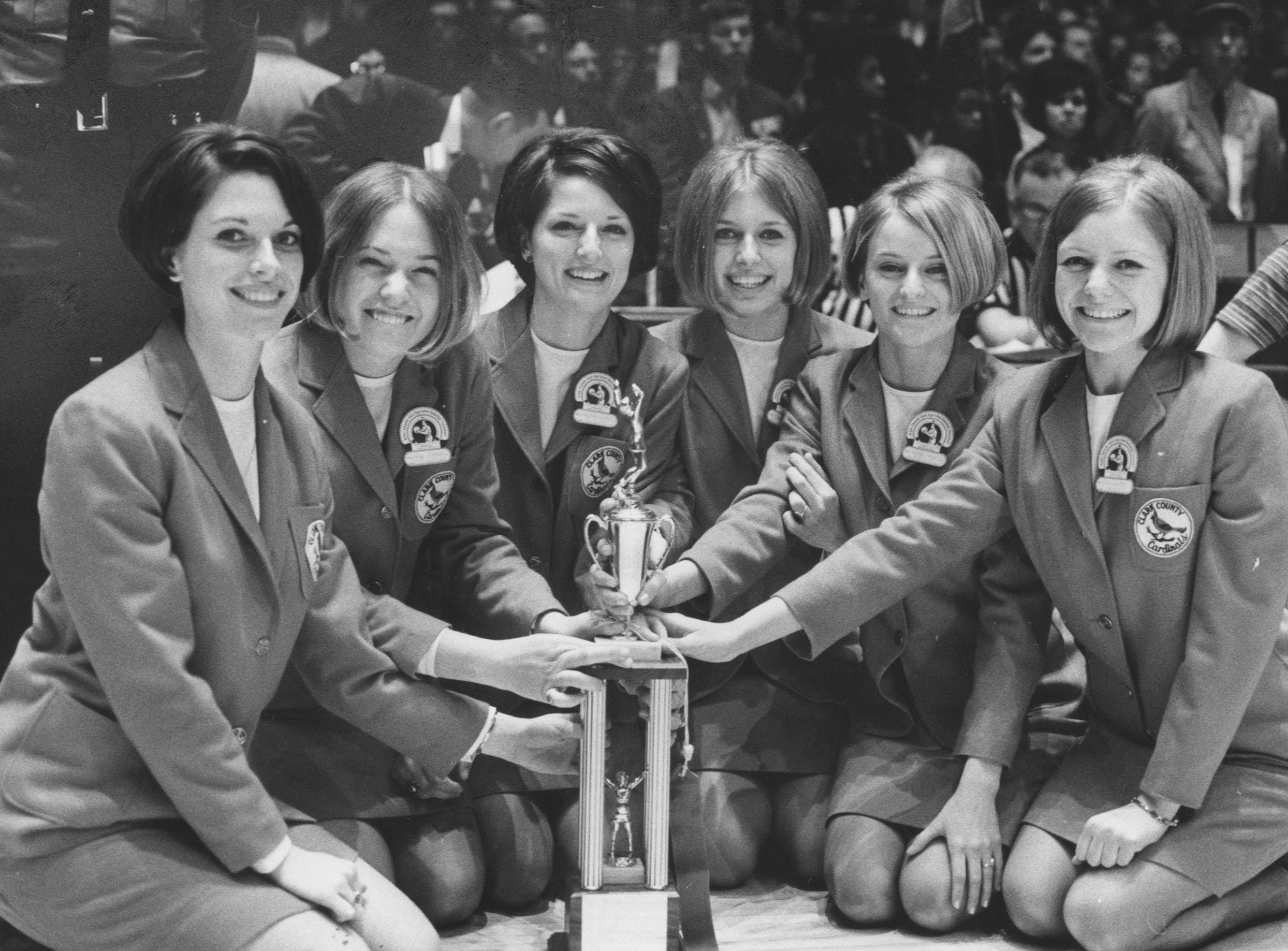 These Clark County girls have plenty to smile about after being judged the best cheerleaders in the State High School Basketball Tournament at Freedom hall. Mar. 31, 1969