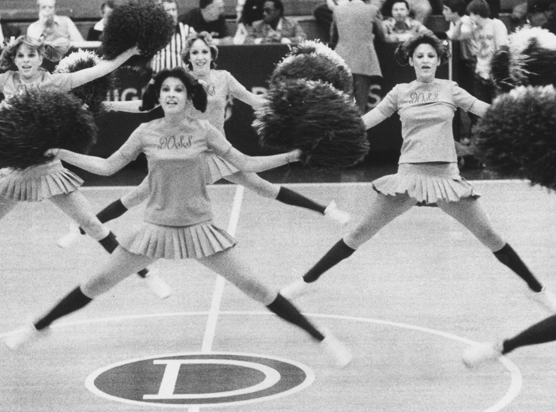 Doss High School cheerleaders. Feb. 19, 1980