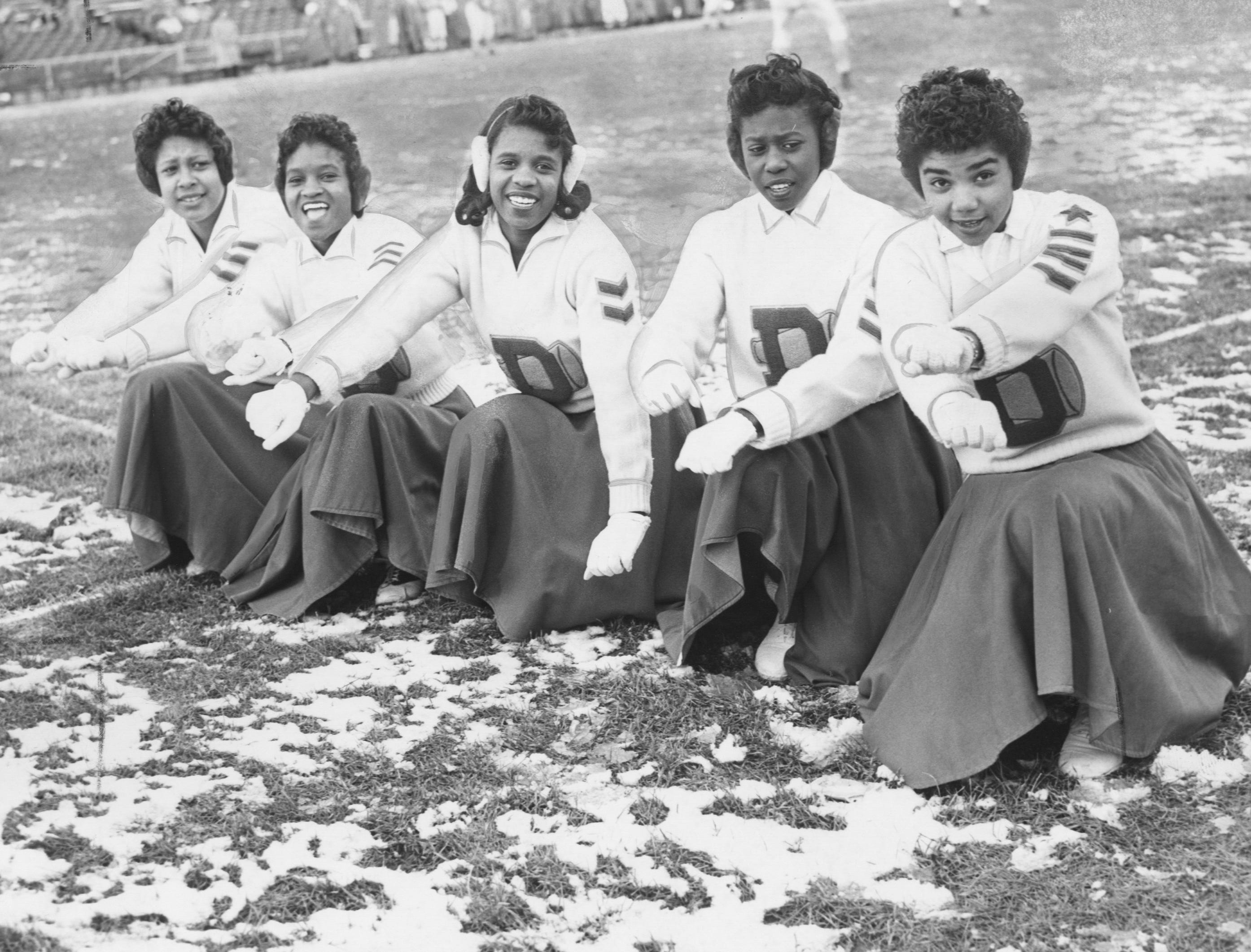 The No. 1 boosters of Henderson Douglas are from left, Elaine Clancey, Betty Pointer, Wanda Robertson, Drucilla Jackson and Helen Cunningham. Nov. 29, 1959
