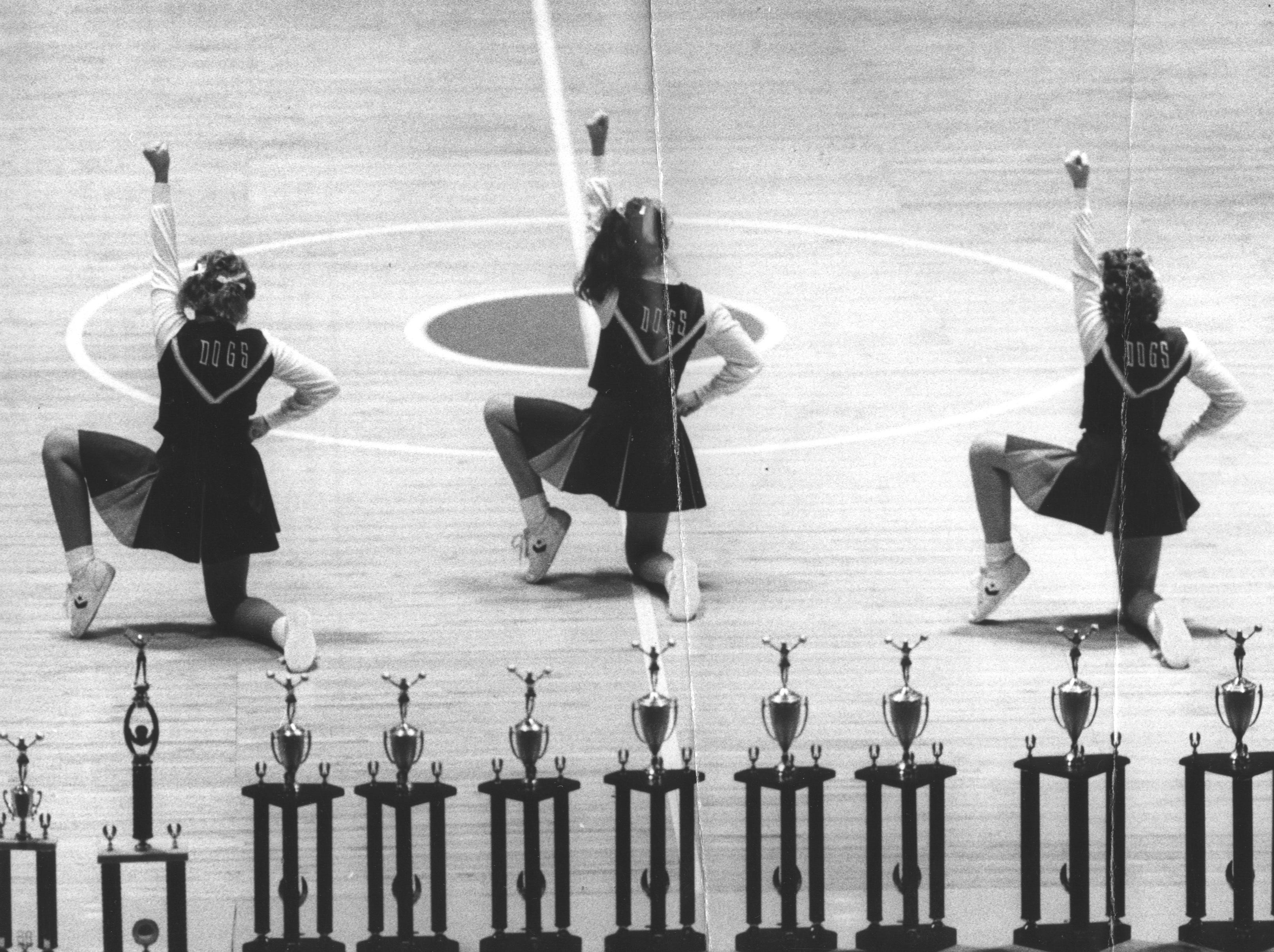 Members of the Fairdale High cheerleading squad during their performance. They finished fifth in the Junior Varsity division. Nov. 8, 1986