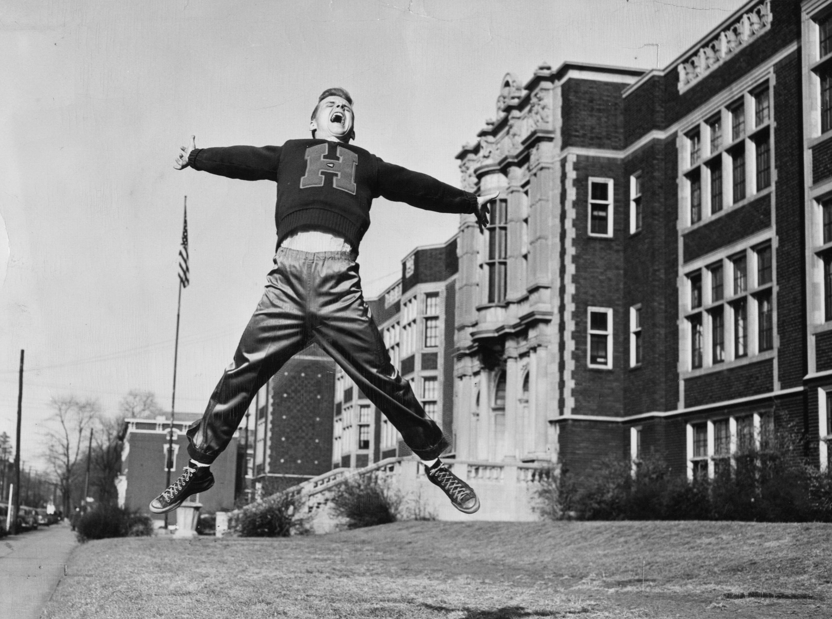 Male's Paul Stone posed this picture for us, showing only one of many ways a student can display his school spirit. Sep. 30, 1951