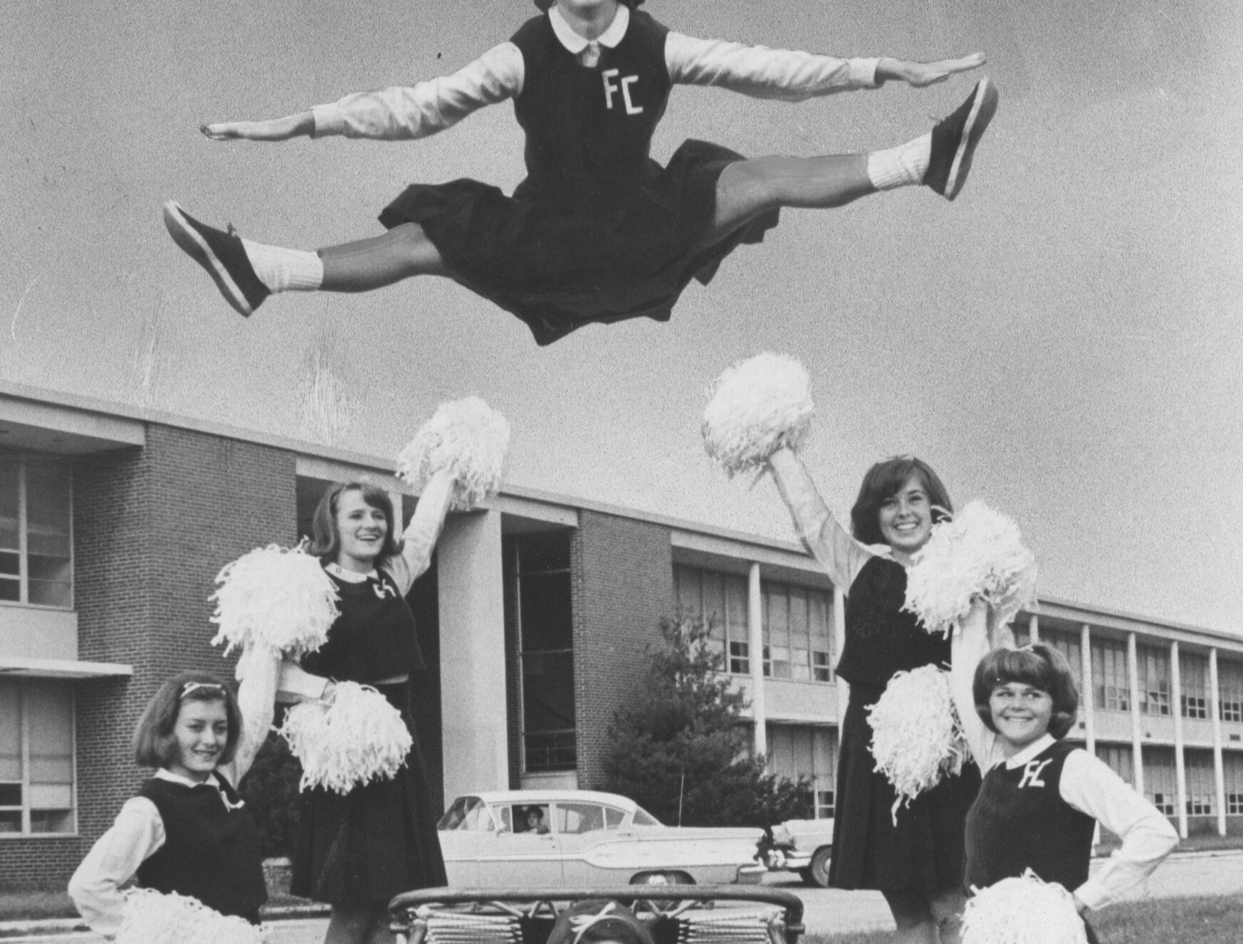 """At the cheerleaders training camp in Allentown, Pa., Franklin's """"Flyers"""" and Fort Lauderdale's team were named camp champs. Oct. 10, 1965"""