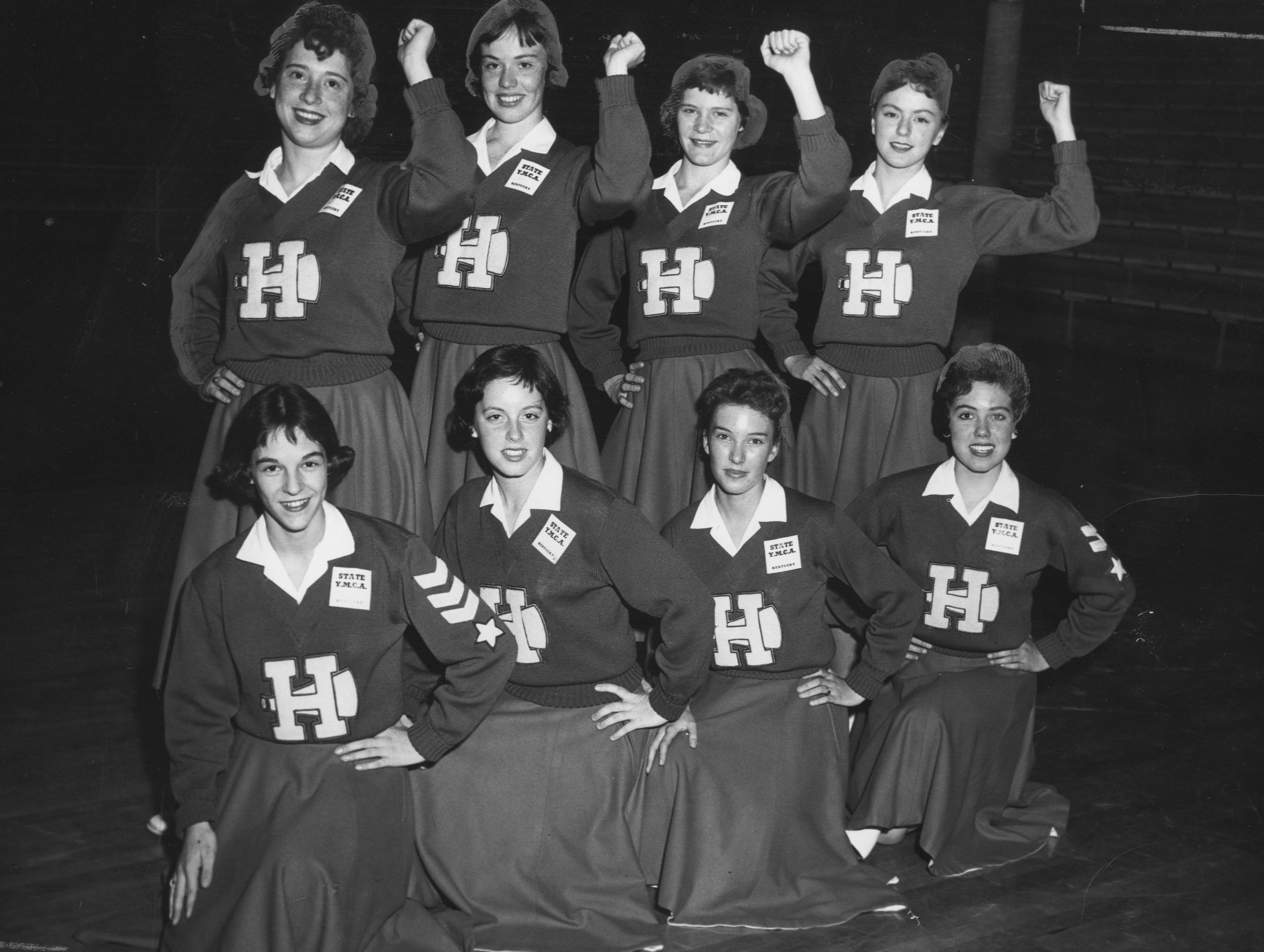 """""""Hooray for Henderson"""" was the chant of Betty White, May Lou Polk, Doris Crafton and Beckie Walker (front) and Mary Alice Casey, Linda Wood, Charla Denton and Beckie Walker."""