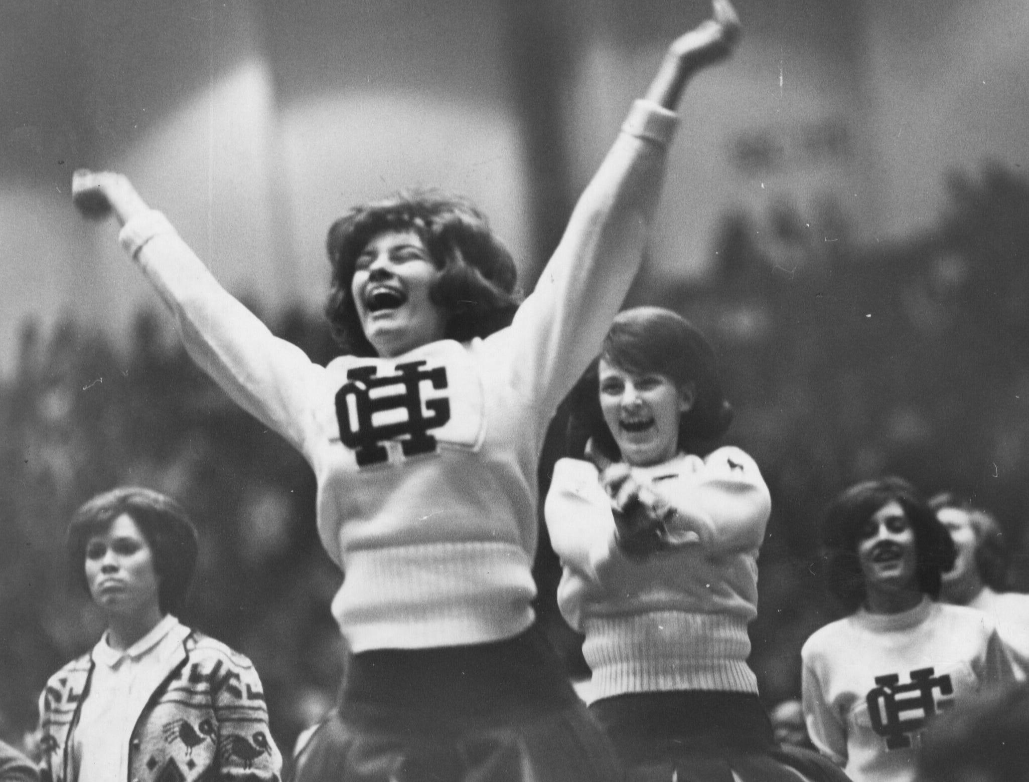 A moment of joy for the Hazel Green cheerleaders. Mar. 20, 1965