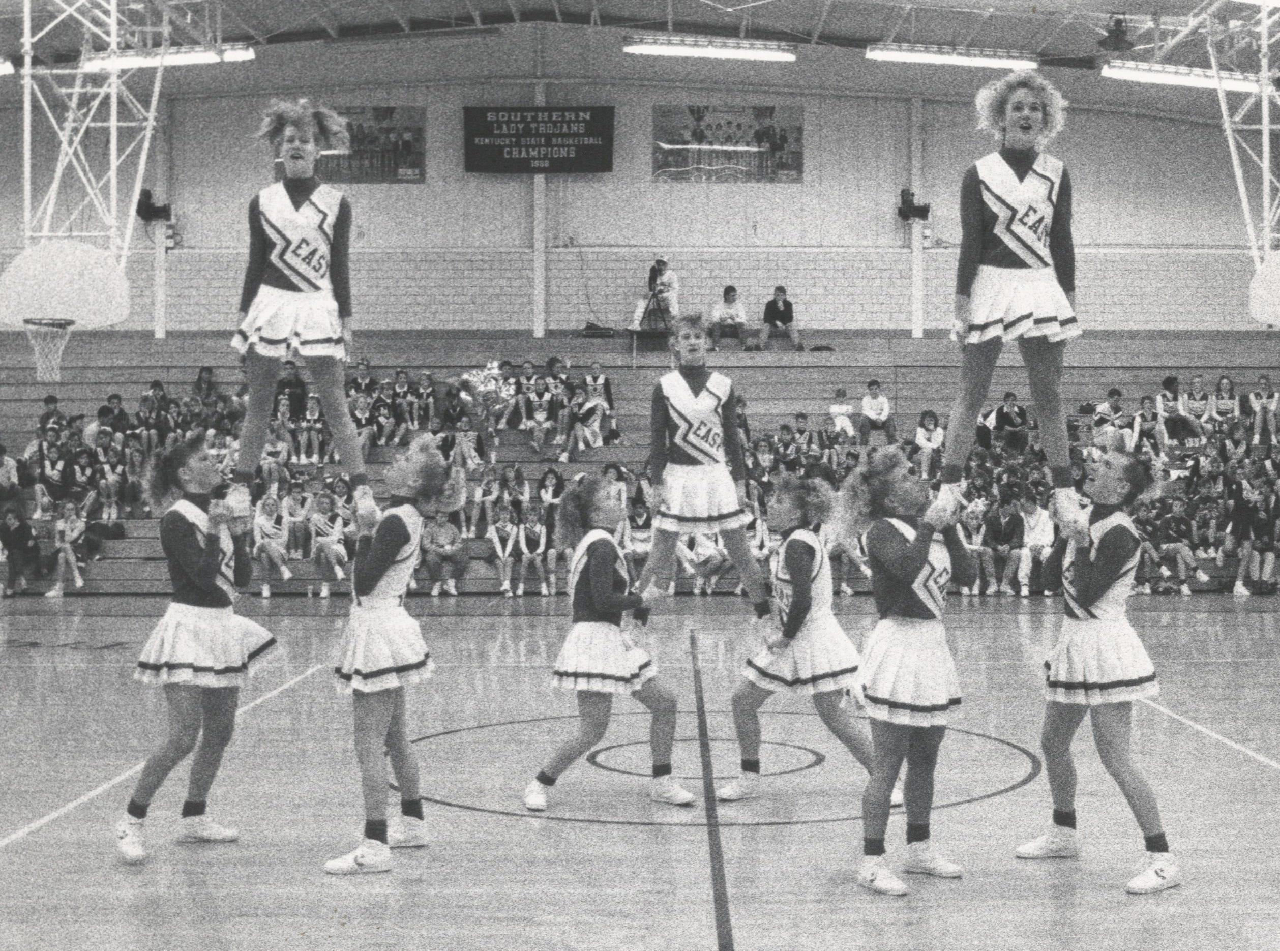 Bullitt East Varsity Cheerleaders. Feb. 18, 1991