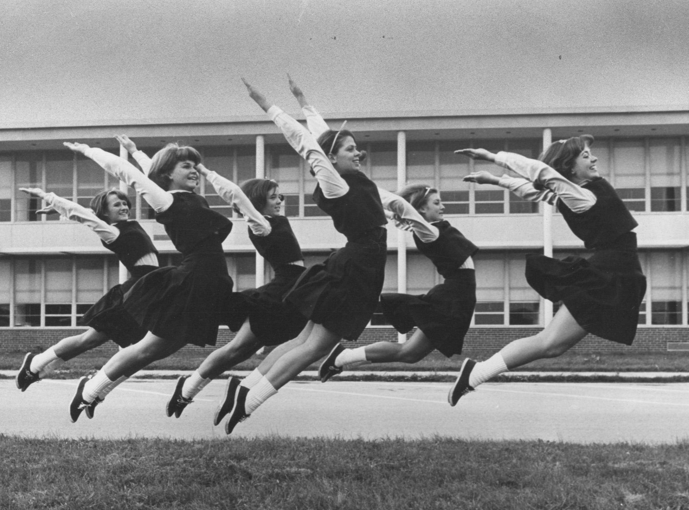 """Franklin County High School's cheerleaders have a most appropriate name, """"The Flyers.""""Oct 10, 1965"""