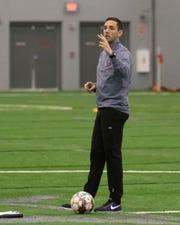 Former Lansing Ignite coach Nate Miller, shown here in January 2019 during open tryouts, is joining the staff of former U.S. soccer star Landon Donovan at San Diego Loyal. That club will play its inaugural season in USL Championship in 2020.