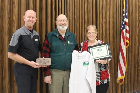 Jim Knickelbine, executive director of Woodland Dunes Nature Center and Preserve in Two Rivers, was awarded the Friends of Mariners Trail Trail Blazer Award. Pictured from left: FOMT President John Brunner, Knickelbine and FOMT past president and board member Judy Corrado.