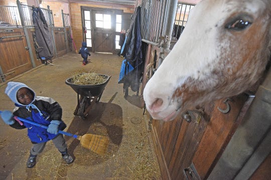 Gentry Chikufenji , 5, is leery of Josie, one of the horses at Raemelton Therapeutic Equestrian Center. The boy visiting from Malawi and his family volunteered to help clean out the stable.