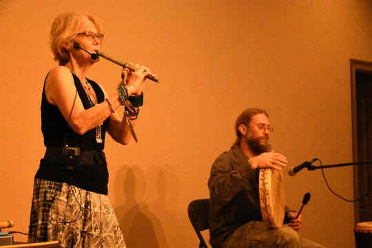 Kat Epple and Nathan Dyke play Calusa-inspired music. The return of the Key Marco Cat and associated artifacts became offical Saturday, with a celebration and ribbon cutting held at the Marco Island Historical Museum.