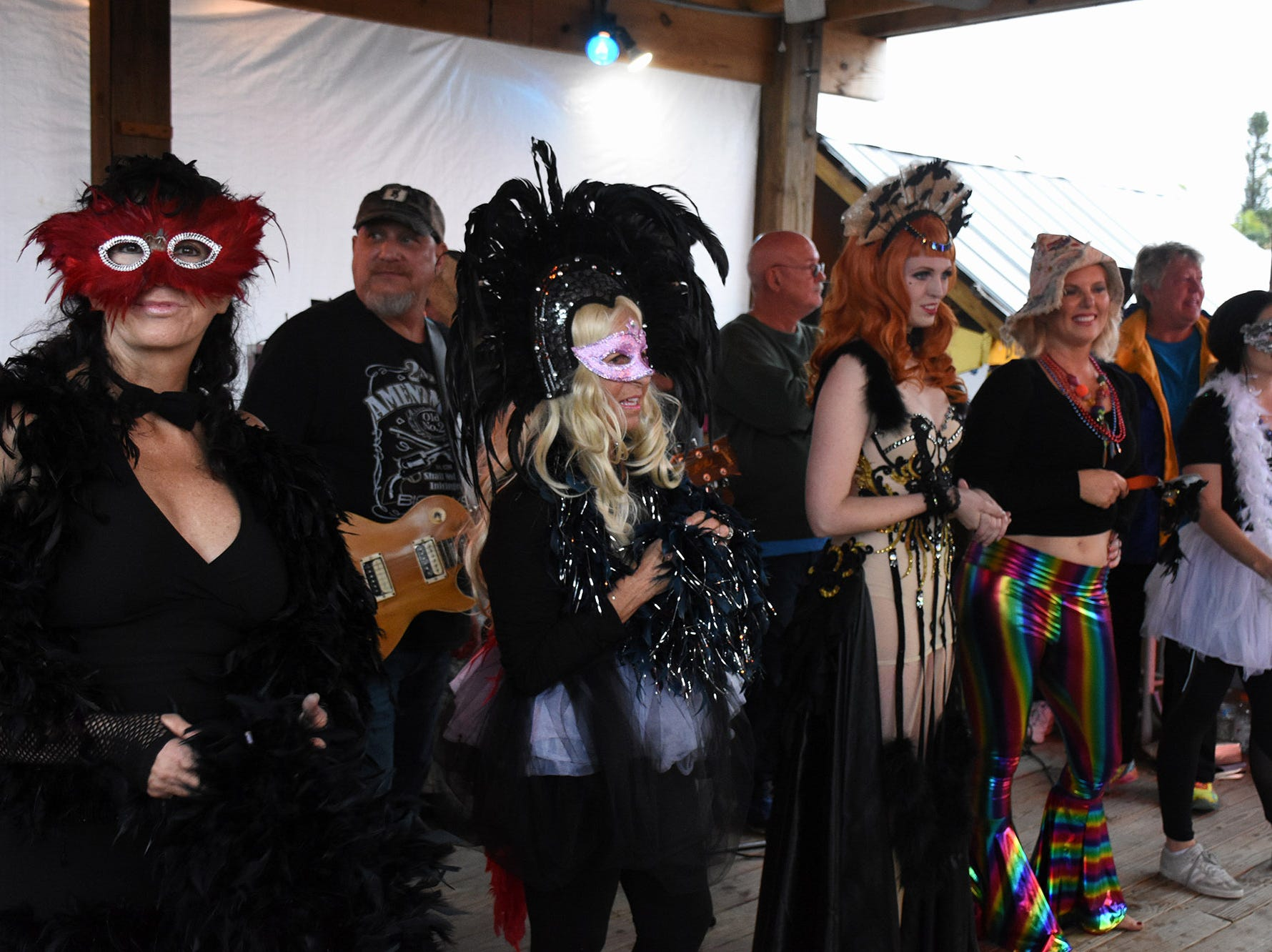 The lineup of final contestants onstage. Stan's Idle Hour restaurant held The 35th annual Mullet Festival over the weekend, a rain and beer-soaked celebration.