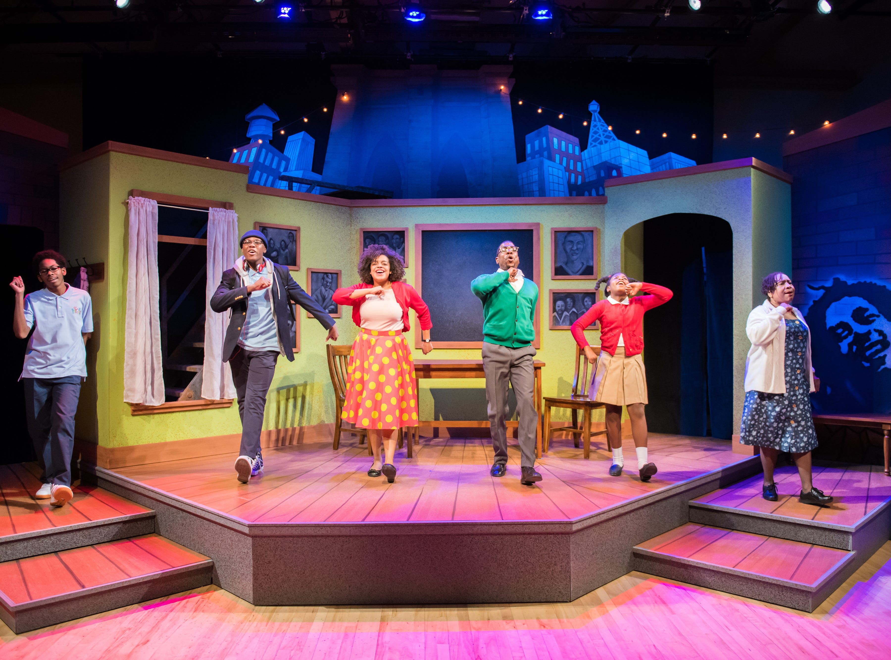"""Derrick Taylor, Kamani Graham, Nadja Simmonds, Ronnel Taylor, Aura Grant and Tosha Freeman perform in First Stage's production of """"Locomotion"""" by Jacqueline Woodson, which continues through Feb. 24 at the Milwaukee Youth Arts Center, 325 W. Walnut St."""