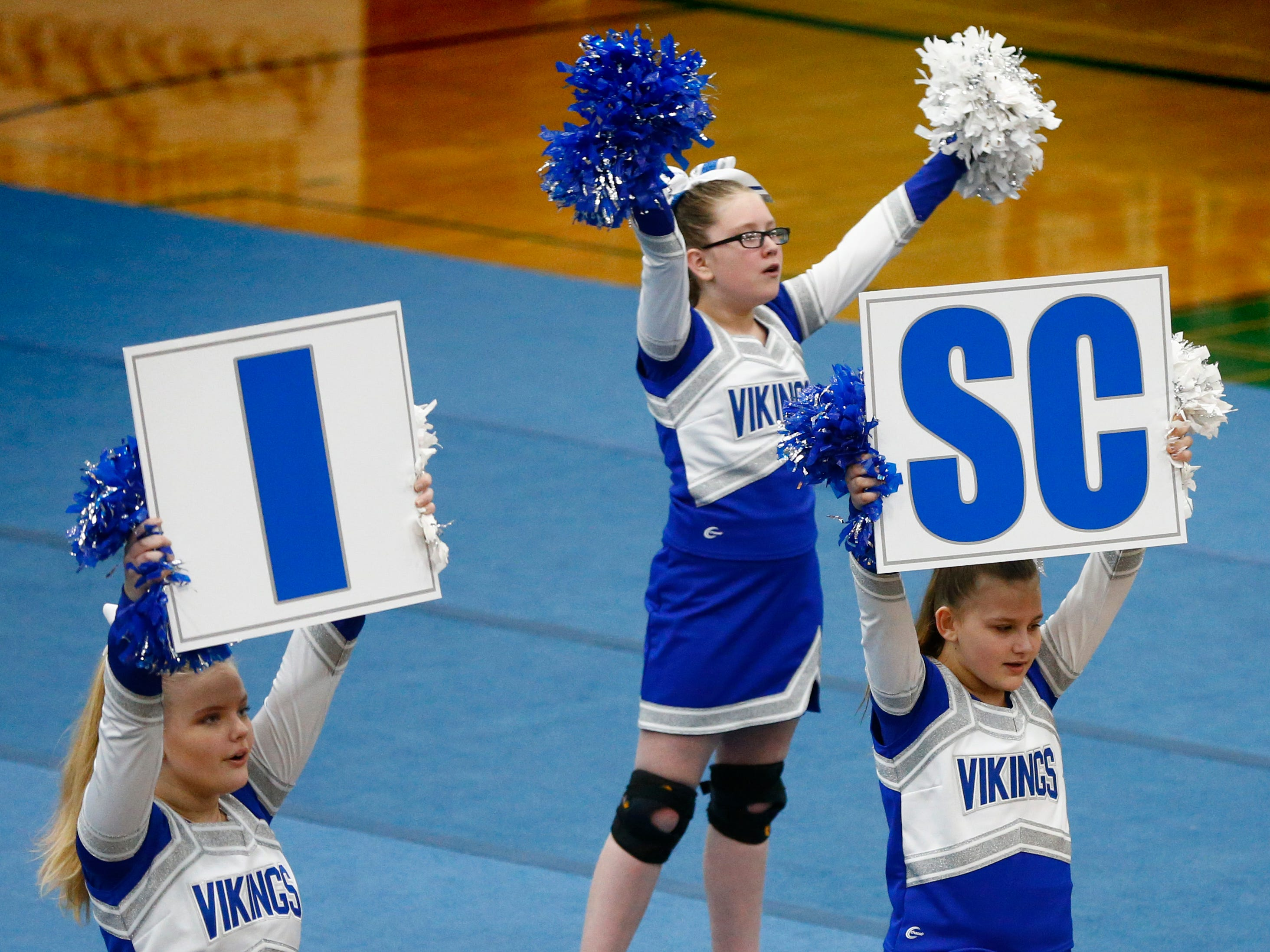 The Wisco Junior Vikings Blue team compete in the Middle School Non Stunt division during the iCheer Competition at Greendale High School on Jan. 26.