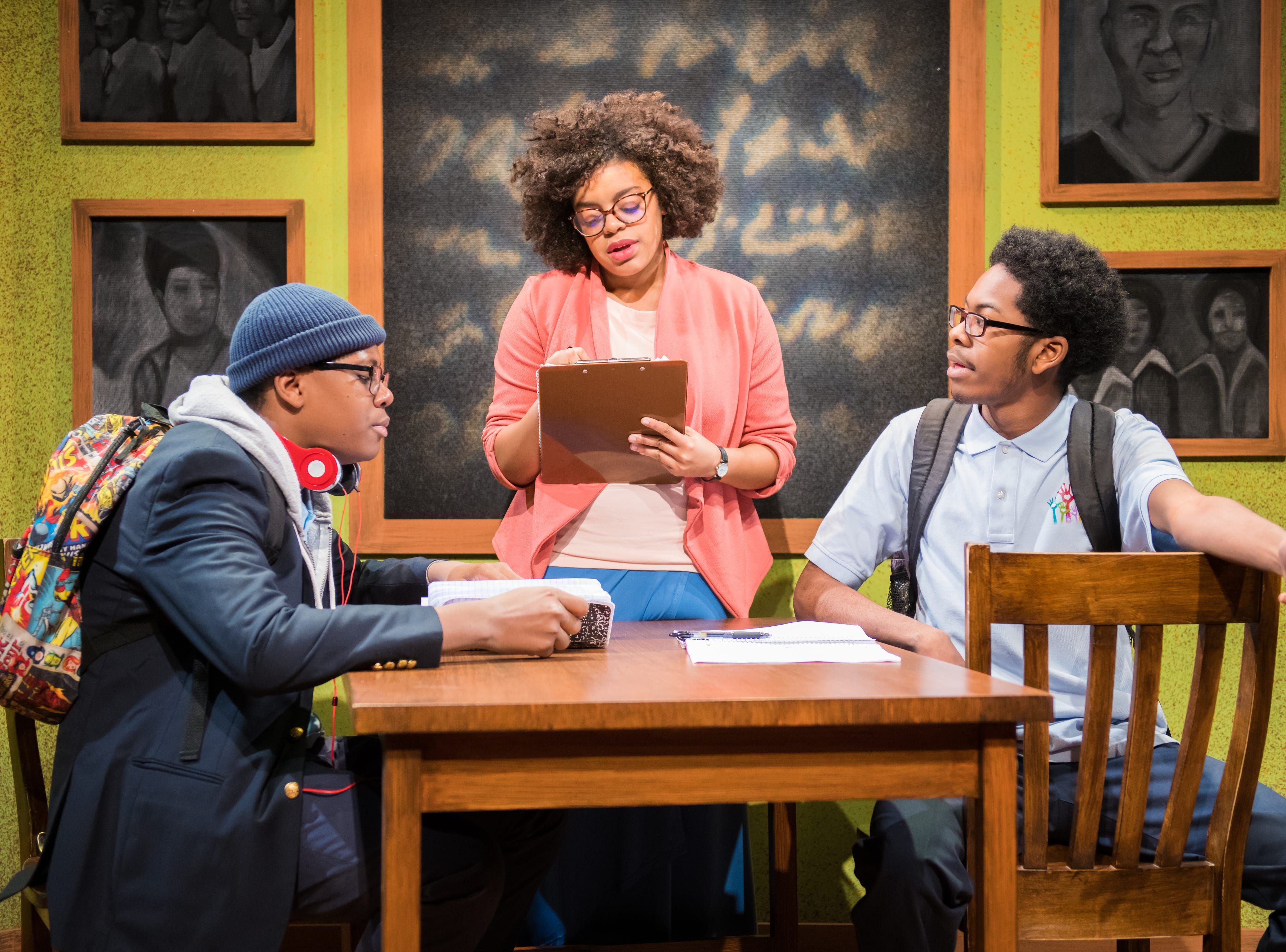 """Kamani Graham, Derrick Taylor and Nadja Simmonds perform in First Stage's production of """"Locomotion"""" by Jacqueline Woodson, which continues through Feb. 24 at the Milwaukee Youth Arts Center, 325 W. Walnut St."""