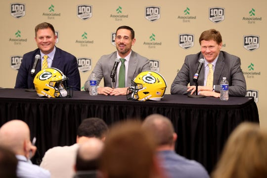 The Packers brass of general manager Brian Gutekunst (left) and team president and CEO Mark Murphy (right) have put their trust in the 39-year-old Matt LaFleur to lead quarterback Aaron Rodgers and the rest of the team to great heights.
