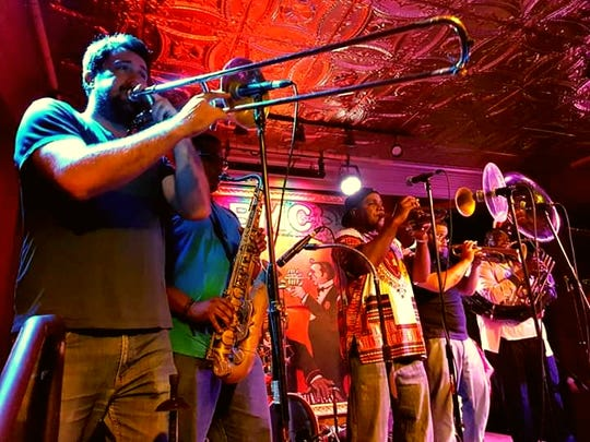 The J.A.M. Brass Band (acronym for Just Average Musicians) entertains audiences with its not-so-average New Orleans brass band/Jazz/R&B Funk/Rap and Old School music
