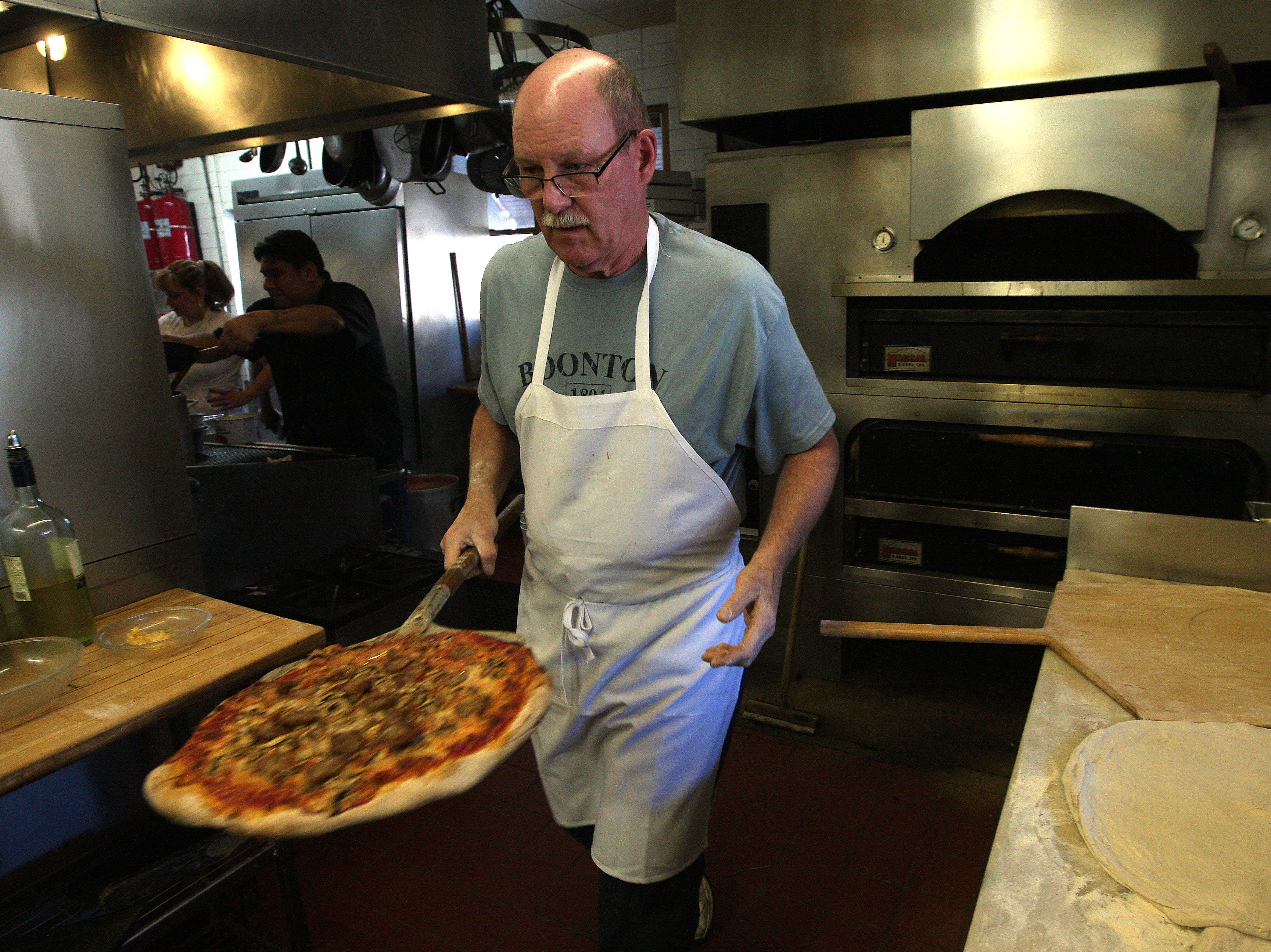 Pizza Chef Dave Osborne of Bevacqua's Reservoir Tavern has worked at the famous restaurant for 40 years. January 13, 2015. Boonton,