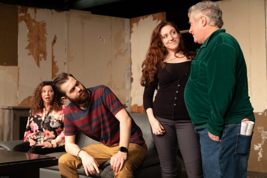 """The antics of four couples are at the heart of """"Rumors."""" The cast includes, left to right, Debbie Badal, John DeLuca, Kristin Gellner and William Horwitz."""