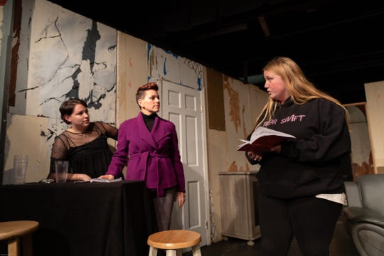 """Rumors,"" a farce about four couples by Neil Simon, opens at Dover Little Theatre on Feb. 1.  Shown rehearsing a scene are Meg Murray, left to right, Michelle Samarel, and Kirsten Ebbinghouser."