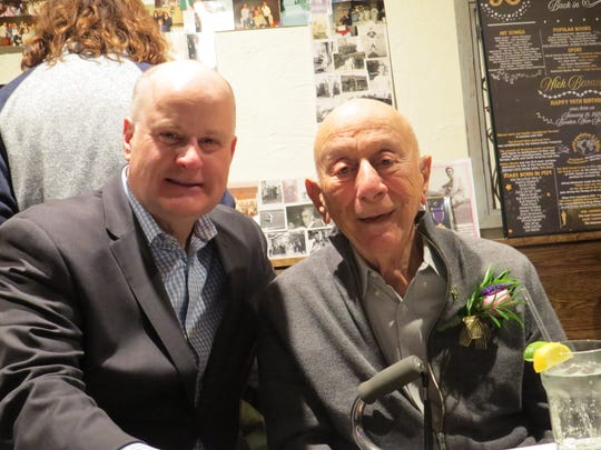 "Morris County Sheriff James Gannon with Nicola ""Nick"" Bevacqua Jr., patriarch of the Bevacqua family that has owned and operated the Reservoir Tavern in Parsippany since 1936. The famous Italian restaurant - the 10th oldest pizzeria in the United States - opened on a rare Sunday to celebrate Nick Jr.'s 90th birthday. Gannon has been a customer since he was a child. January 27, 2019."