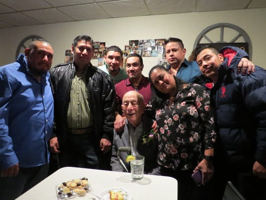 "Members of the kitchen staff with Nicola ""Nick"" Bevacqua Jr., patriarch of the Bevacqua family that has owned and operated the Reservoir Tavern in Parsippany since 1936. The famous Italian restaurant - the 10th oldest pizzeria in the United States - opened on a rare Sunday to celebrate Nick Jr.'s 90th birthday. Gannon has been a customer since he was a child. January 27, 2019."