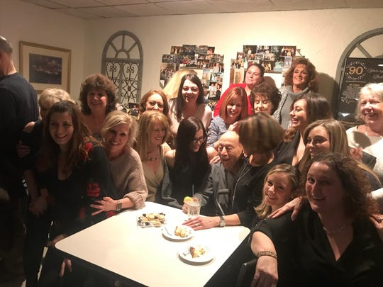 "The waitress staff with Nicola ""Nick"" Bevacqua Jr., patriarch of the Bevacqua family that has owned and operated the Reservoir Tavern in Parsippany since 1936. The famous Italian restaurant - the 10th oldest pizzeria in the United States - opened on a rare Sunday to celebrate Nick Jr.'s 90th birthday. Gannon has been a customer since he was a child. January 27, 2019."