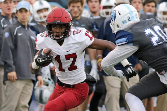 Harvard graduate transfer Justice Shelton-Mosley (17) will play for Vanderbilt this season. He was one of Harvard's most productive all-time receivers and an FCS All-American punt returner.