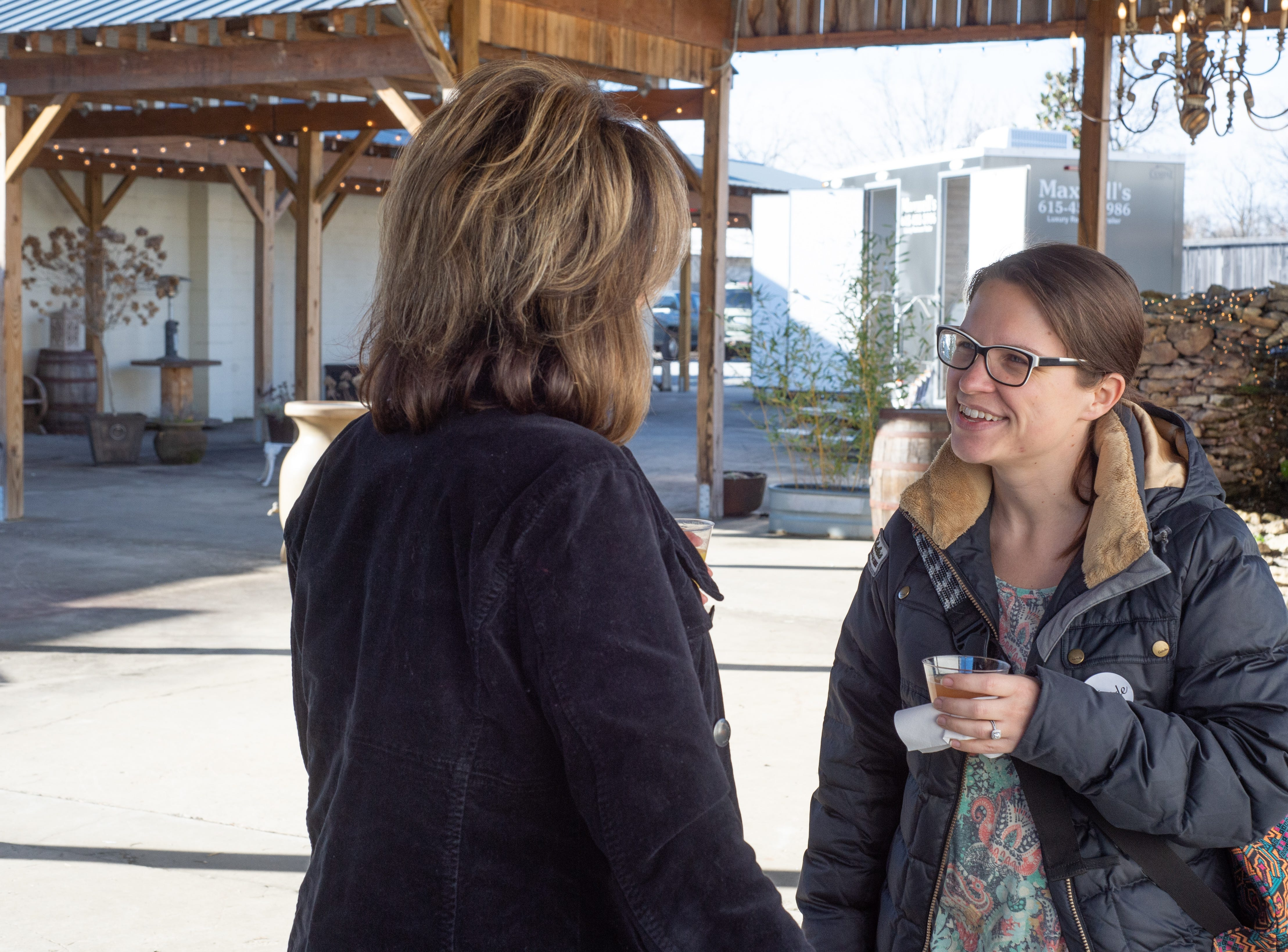 Sara Hissner chats during the Sumner County Bridal Show at Epic Event Center in Gallatin on Sunday, Jan. 27.