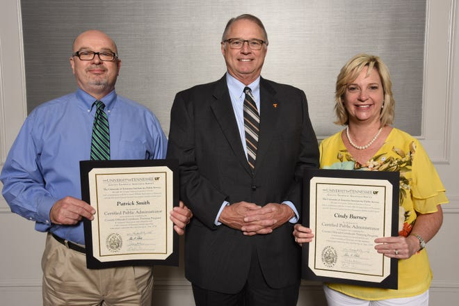 The University of Tennessee honored Patrick Smith and Cindy Burney as certified public administrators at a Capstone event held in Franklin, Tennessee.
