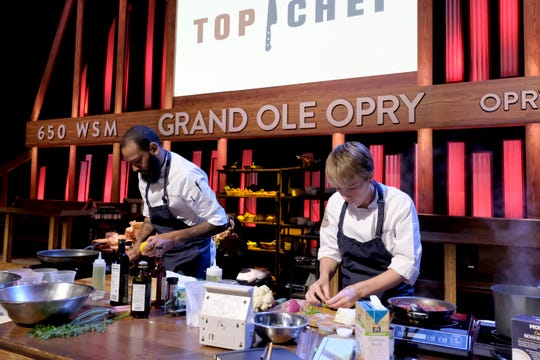 """TOP CHEF -- """"Music City USA"""" Episode 1609 -- Pictured: (l-r) Justin Sutherland, Adrienne Wright -- (Photo by: David Moir/Bravo)"""