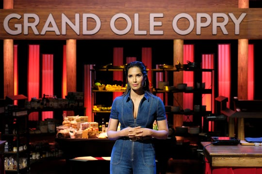 "TOP CHEF -- ""Music City USA"" Episode 1609 -- Pictured: Padma Lakshmi -- (Photo by: David Moir/Bravo)"