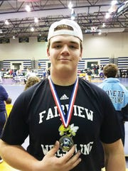 Fairview High's Jackson Clevenger with his first place medallion.