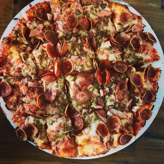 The meat lovers pizza at The Crust in North Naples.