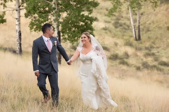 Alley Hoza Rodela and her husband on their wedding day in June 2018.