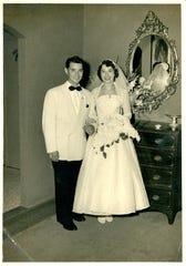 George Vega and his wife, Joan Vega, on their wedding day.