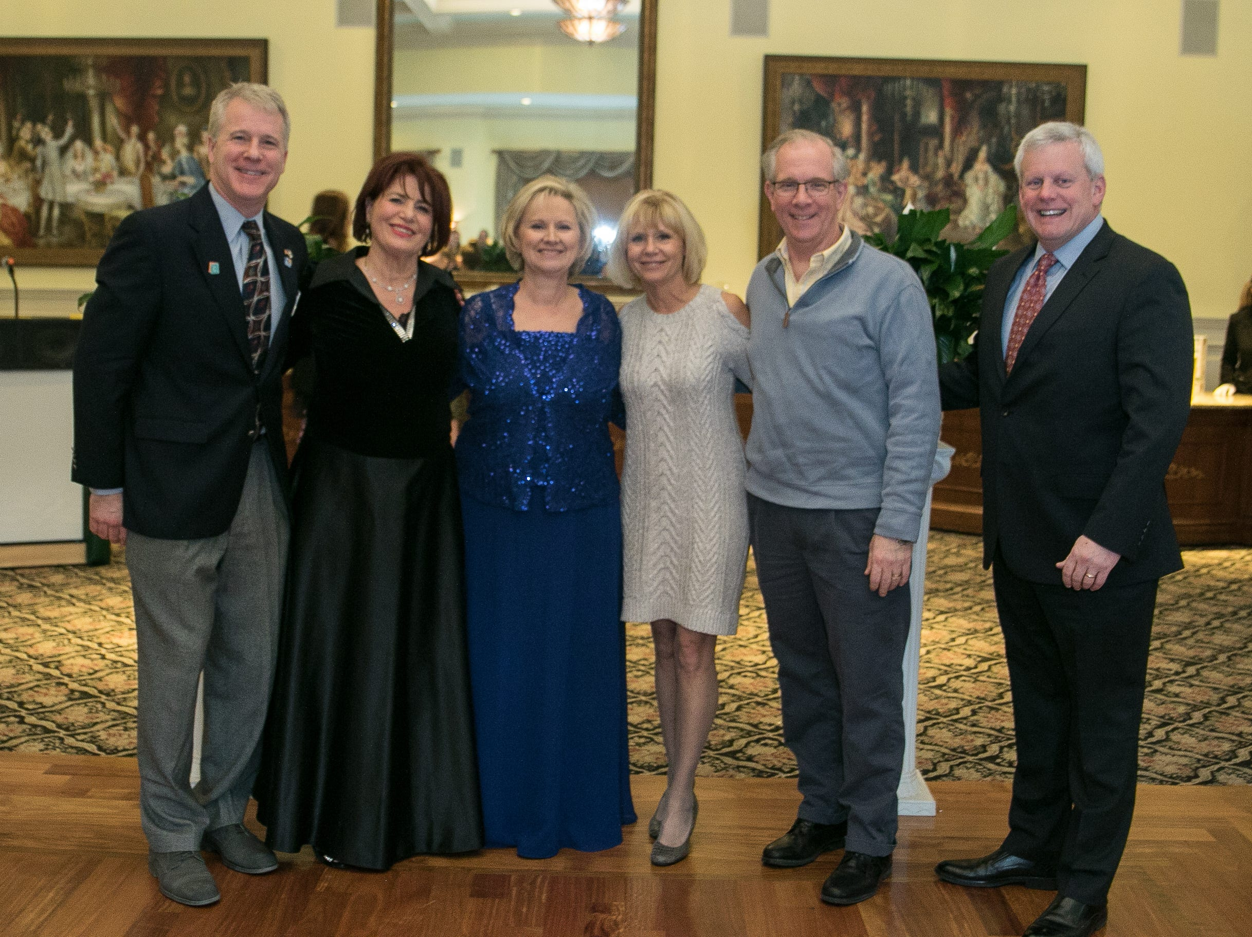 John Adams, with Emmy Eliya, Nancy DeRitter- Event co-chairs, Sue Dobson, Tom DeLoughry, Russel Kamp. The Midland Park Ramapo Eisenhower React/ Interact Clubs held it's sixth Annual fashion show and tricky tray at The Brick House in Wyckoff. 01/27/2019