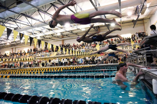 Boys compete in the 100-yard freestyle during the Bergen County Meet of Champions on Sunday, Jan. 27, 2019, in West Nyack.
