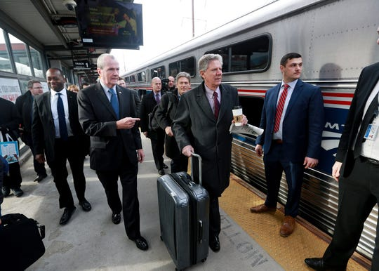 Gov. Phil Murphy, and Congressman Frank Pallone, Jr. and other members of the New Jersey Congressional delegation prepare to board an Amtrak train for a tour of the Gateway Project via an Amtrak inspection car through the aging, storm-damaged North River Tunnel beneath the Hudson River, in Weehawken, N.J. Monday, January, 28, 2019