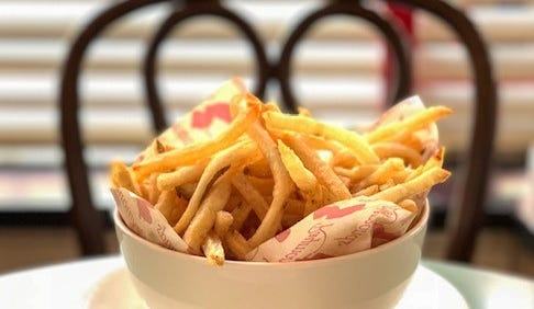 Raymond's French fries are thin and crispy.