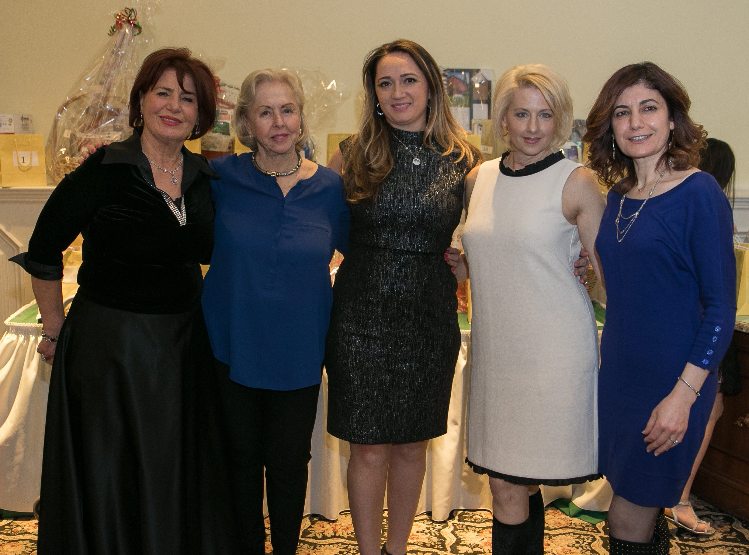 Emmy Eliya, Mary Orr, Tina Sabani, Andrea Goodman, Laila Elia. The Midland Park Ramapo Eisenhower React/ Interact Clubs held it's sixth Annual fashion show and tricky tray at The Brick House in Wyckoff. 01/27/2019