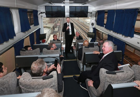 Stephen Gardner or Amtrak gives a tour to Gov. Phil Murphy, U.S. Sen. Cory Booker, U.S. Sen. Bob Menendez and other members of the New Jersey Congressional delegation on a tour of the Gateway Project via an Amtrak inspection car through the aging, storm-damaged North River Tunnel beneath the Hudson River, in Weehawken, N.J. Monday, January, 28, 2019