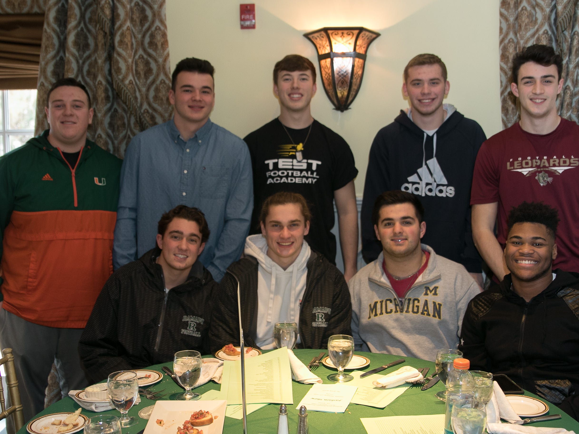 The Ramapo HS Football team models.The Midland Park Ramapo Eisenhower React/ Interact Clubs held it's sixth Annual fashion show and tricky tray at The Brick House in Wyckoff. 01/27/2019