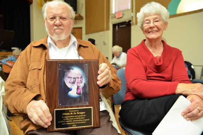 From left, Glenn and Jo Kruger received a plaque of recognition from the Deming Performing Arts Theater for their dedication and involvement to the organization.