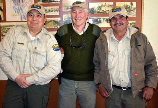 Pictured, from left, are: Armando Martinez, acting Pancho Villa State Park Manager; John Read, retiring manager; and Martin Nunez, park maintenance. A new State Park manager will be announced at a later date.