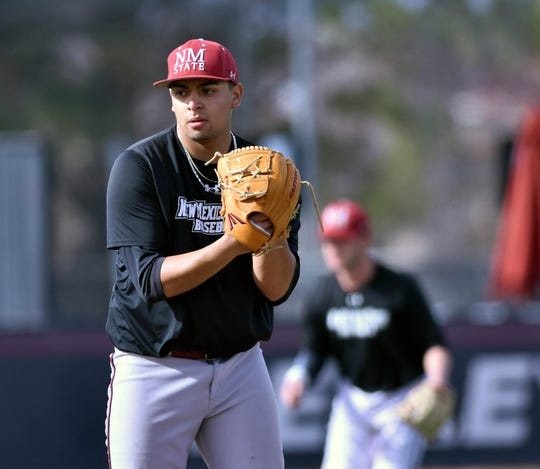 "Aggie left hander Alex Pinedo took the mound for the ""home team"" during an inter-squad scrimmage at Presley Askew Field on Sunday afternoon."